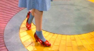 ruby red slippers and yellow brick road