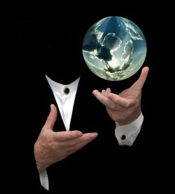 magician with globe